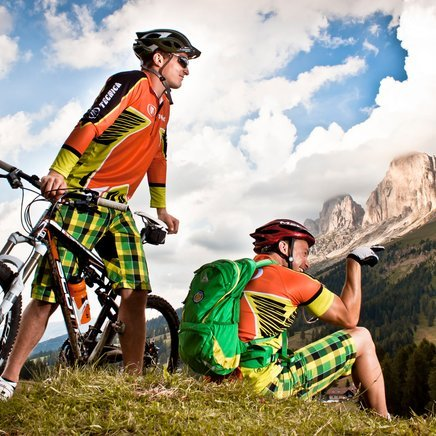 MTB-Tour in the Dolomites under the Rosengarten