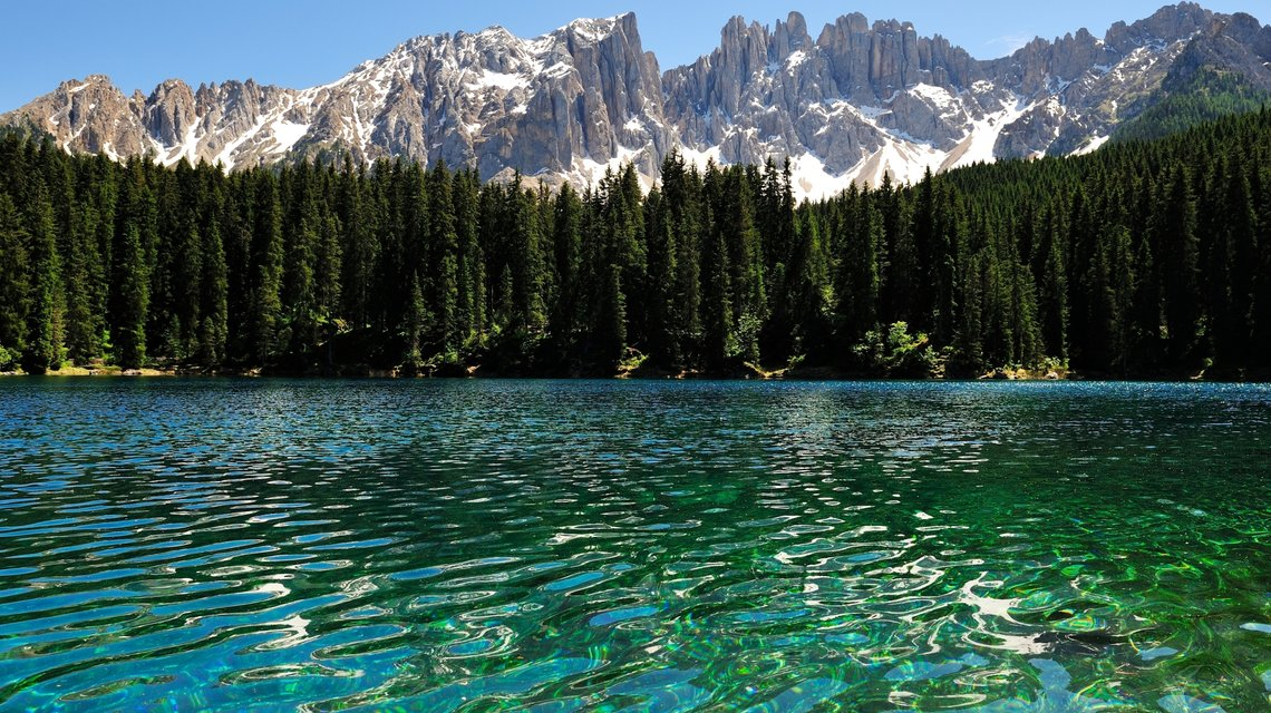 The Lake Carezza under the Latemar