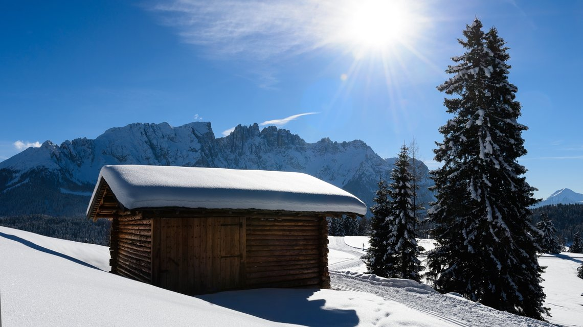 Alpine huts in the winterlandscape under Latemar