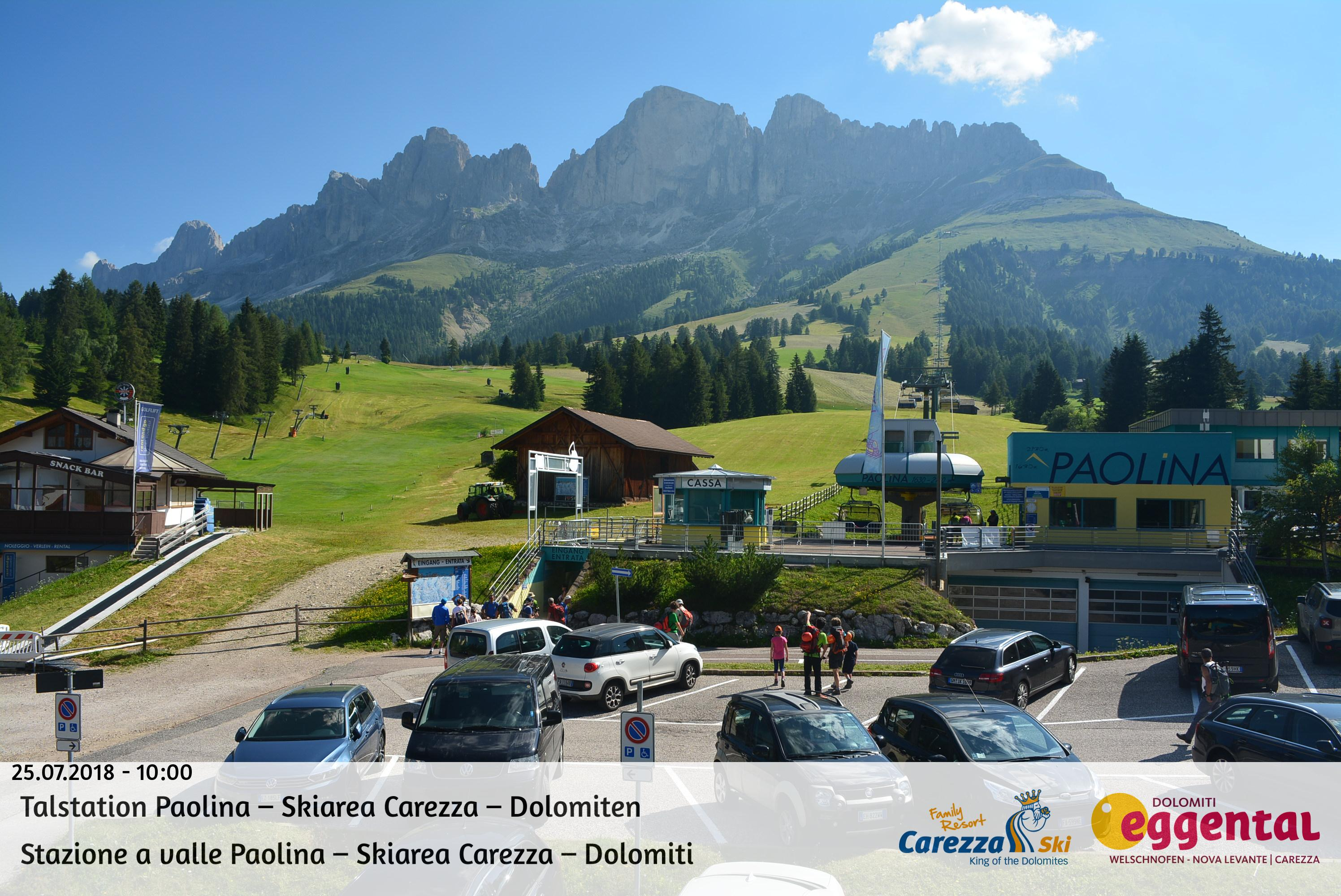 Webcam Carezza - Paolina - Altitude: 1,770 metresArea: chair lift PaolinaPanoramic viewpoint: static webcam. Paolina chair lift departure.